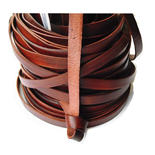 Glory Qin 5 Yards 10mmx2mm Genuine Cow Hide Flat Leather Srip, 10mm Wide Real Leather Craft for Jewelry Making LeatherRush (Brown)