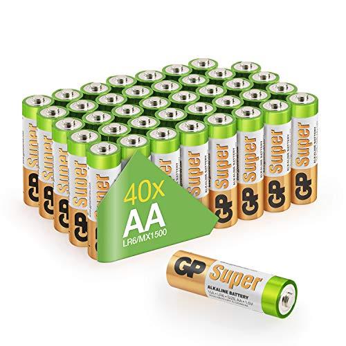 GP Batterien AA (Mignon LR6 15A) Vorratspack Super Alkaline, besonders langlebig und auslaufsicher, Markenware GP Batteries (40 Stück in der praktischen PET-Box, einzeln entnehmbar)