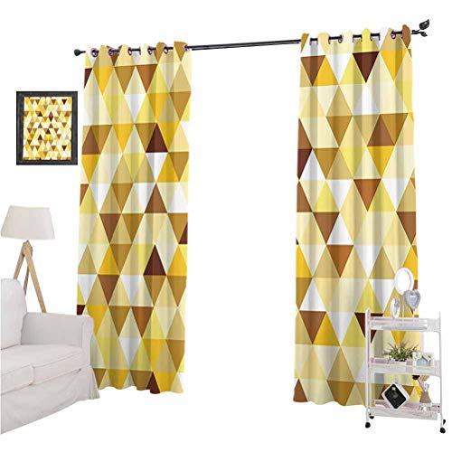 "Geometric Decor Collection best home fashion thermal insulated blackout curtains Gold Triangle Pattern Happy Brightening Autumn Color Luxury Trendy Style Suitable forSound Asleep Room curtains W96"" x"