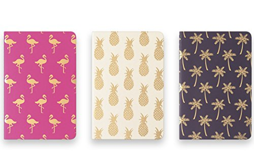 Eccolo Mini Memo Books/Jotters, 4 x 6 Inches, Ruled, Flexible Cover, Pack of 3 (Tropical Designs)