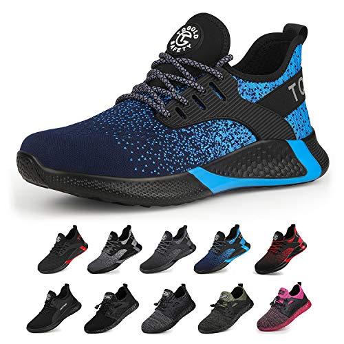 tqgold® Sicherheitsschuhe Herren Damen Arbeitsschuhe S3 mit Stahlkappe Sportlich Leichtgewicht Breathable rutschfeste Schuhe Blau 43