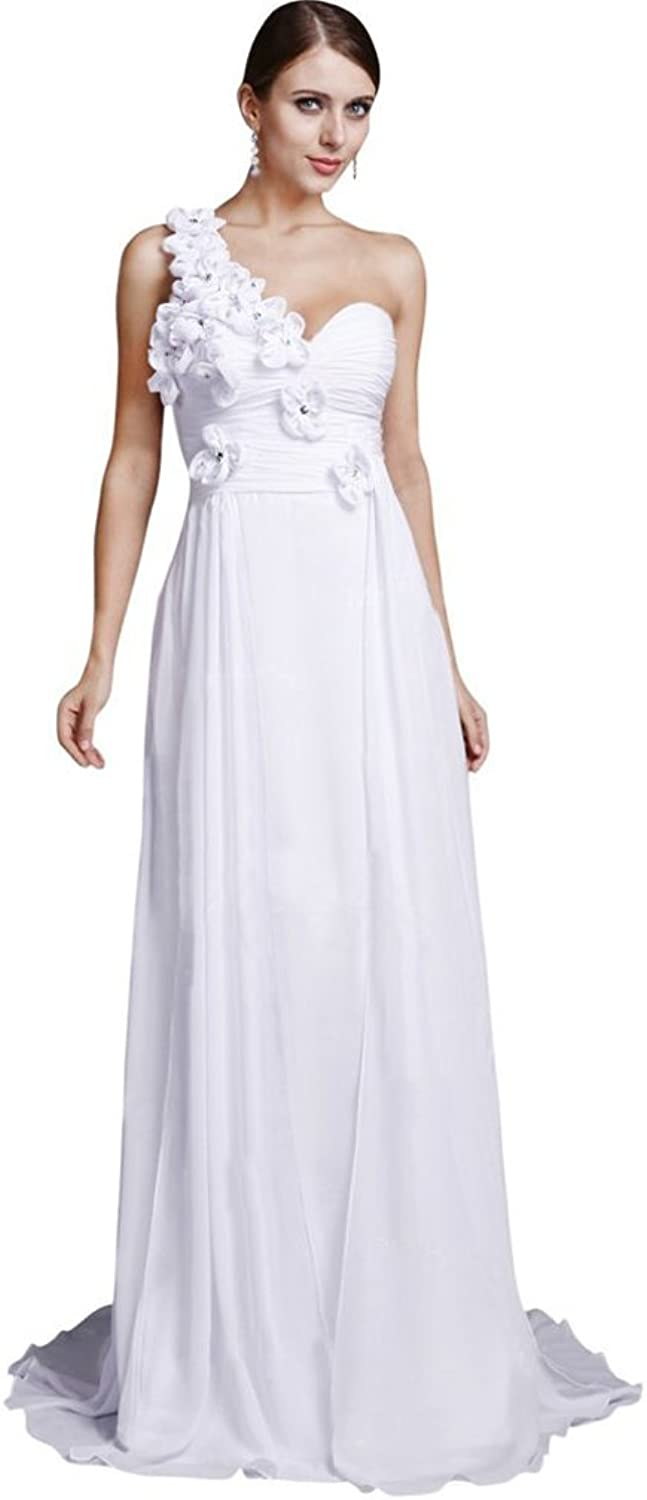 Dearta Women's Sheath OneShoulder Sleeveless Court Train Wedding Dresses