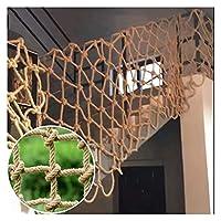 麻ロープネットペットバルコニー階段セーフティネット、階段手すり保護ネット手織り庭装飾メッシュ遊び場クライミングロープネット