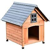 Pawhut Hundehütte im Kabinenstil, Hundehaus, Tannenholz, Natur, 81,3 x 91,5 x 98,5 cm