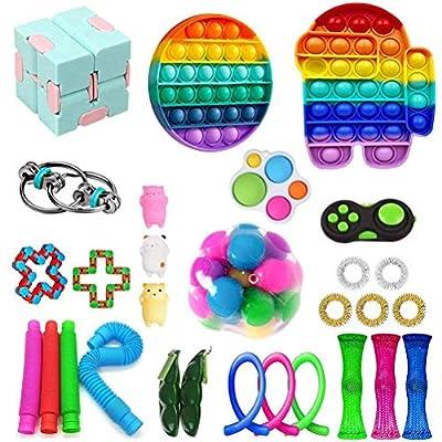 shenruifa Juego de juguetes fidget Pop it Fidget Toy Pack, Fidget Toy Set con herramientas antiansiedad Pop it Set de terapia sensorial Juguetes de mano para niños y adultos de shenruifa