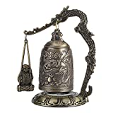 BWLZSP Vintage Bronce, Bronce Tallado dragón Monje Campana Budista Antiguo Arte geomántico decoración de Oficina en casa, decoración de Bronce LC48