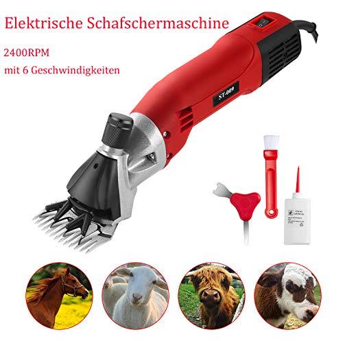 IDABAY Elektrische Schafschermaschine 2400RPM Schafschur Schermaschine Pferd Rinder Schaf Ziegen Tierschermaschine mit 6 Geschwindigkeiten, verstellbar 2 Kämmer 500W