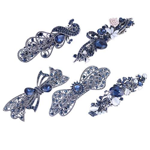 Lurrose 5 Stücke Kristall Französisch Haarspangen Vintage Hohl Frühling Haarspange Blau Strass Bogen Haarspangen für Frauen