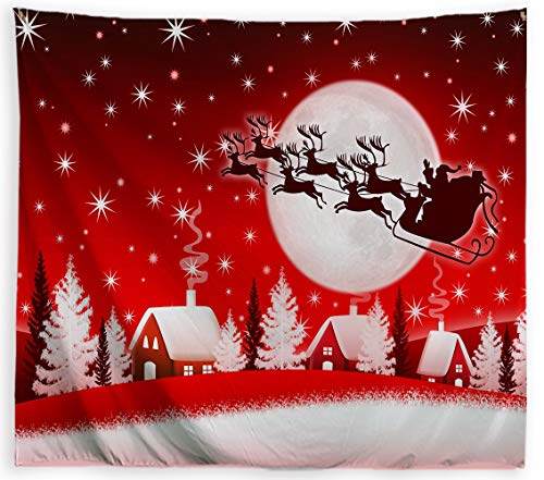 ORTIGIA Christmas Tapestry Wall Hanging Home Decor,Elk Pulling Sleigh and Santa Claus,Tapestry for Bedroom,Kids Room,Living Room,Dorm Polyester Fabric Needles Included - 60' W x 40' L-Red Moon