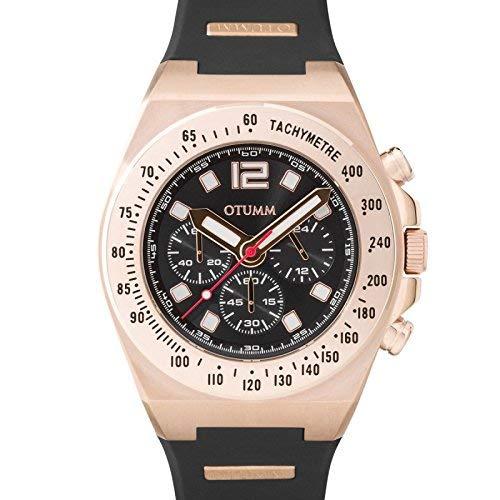 Otumm Atletismo I Chrono Oro Rosa Dial Negro Oscuro Correa Negro 01 45mm Unisex Atletismo Reloj
