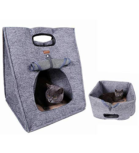 LANGDI Soft Pet Carrier for Medium Cats and Small Dogs with Cozy Bed,Pet Out Bag Portable Pet Bag Cat Bag Puppy Backpack Pet Bag,Portable Multi-Purpose pet Bed