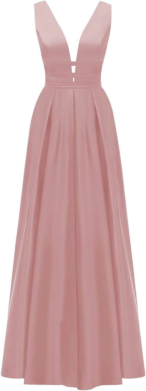VANLYXCCI Long オリジナル 早割クーポン Satin V-Neck Prom Side Pockets Slit Dresses with