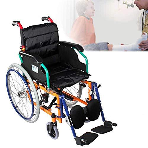 WHYTT Rollstuhl Faltbar Leichter Rollstuhl mit Steckachsen Trommelbremse Medical Transportrollstuhl Bruttogewicht 13kg,Verpackungsgröße 87cm * 33cm * 70cm, Kinder von 6-16 Jahren