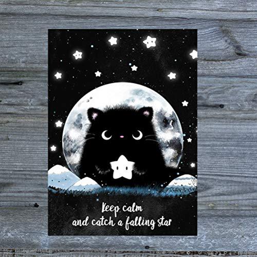 TinyTami 1 Katzen Aufkleber Catch a falling star - Kater MOO Sticker Mond und Sterne