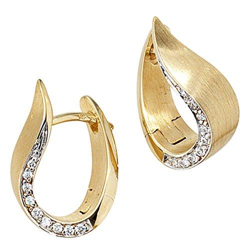 JOBO Damen-Creolen aus 585 Gold mit 18 Diamanten