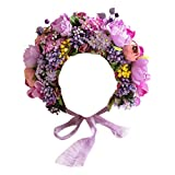 Newborn Baby Headbands Vintage 3D Floral Bonnet Hat for Infant Full Moon Photography Props Hairband Accessories (T-304)