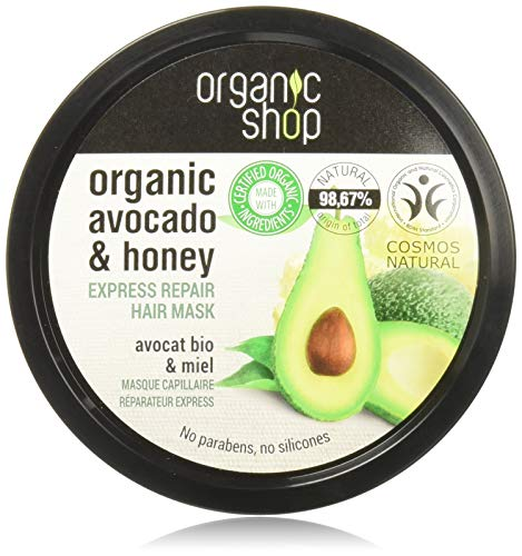 Masque capillaire à l'avocat et au miel d'Organic Shop...