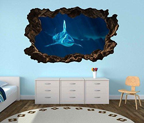 3D Wandtattoo weißer Hai Haie Meer Wasser blau selbstklebend Wandbild Tattoo Wohnzimmer Wand Aufkleber 11L140, Wandbild Größe F:ca. 140cmx82cm