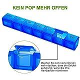 Tablettenbox 7 Tage Deutsch, SUKUOS 2X Pillendose 7 Fächer, Medikamenten-Box für 7 Tage (2 Stück - Blau/Rot) - 3