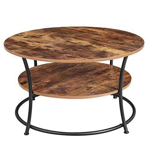 VASAGLE Couchtisch rund, Wohnzimmertisch, Sofatisch mit Ablage, einfacher Aufbau, Metall, Industrie-Design, Vintage, Dunkelbraun LCT80BX