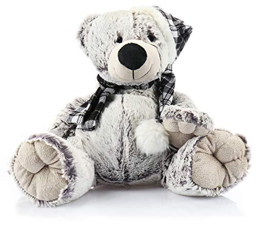 COM-FOUR® knuffel teddybeer - pluche beer met geruite muts en sjaal - babyspeelgoed voor knuffelen en spelen (01-delig - beer wit)