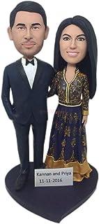 Abito indiano personalizzato Torta nuziale personalizzata Topper Bobble Head Figurina di argilla basata sulle foto dei cli...