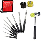9 Pcs Roll Pin Punch Set and 1 Double Faced Hammer with 2 Replaceable Heads, Hand Pin Remover Tool with Carrying Bag for Jewelers, Watch Repairers Work