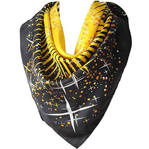 LDCSA Foulard Soie Femme Satin Écharpe 100% Silk Cadeau Châle 90 X 90cm (Carré-noir jaune)