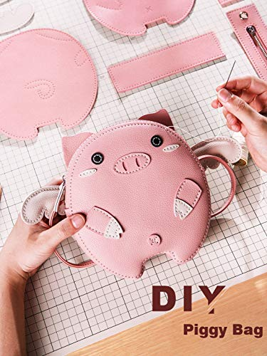 FunSpace DIY Sewing Kit, DIY Crafts Lovely Piggy Leather Handbag Purse with All Accessories, Unique Birthday Gift for Girls Children Students Adults Teenagers (Pink)