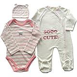 ベビー服:ロンパース、カバーオール、帽子女の子3点セット65サイズ・エトワールピンク・ピンクドット