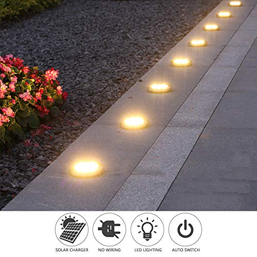 Solar Ground Lights, Disk Lights Solar Powered - 8 Led, Outdoor in-ground Solar Lights for Landscape, Walkway, Lawn, Steps Decks, Pathway Yard Stairs Fences, LED lamp, Waterproof(8 Warm White)