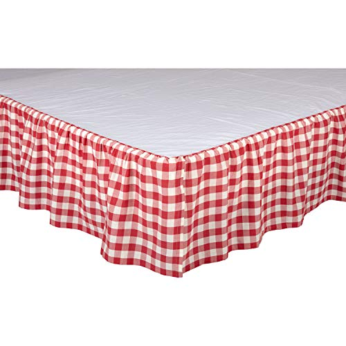 VHC Brands Farmhouse Annie Cotton Split Corners Gathered Buffalo Check Queen Bedding Accessory, Skirt 60x80x16, Red