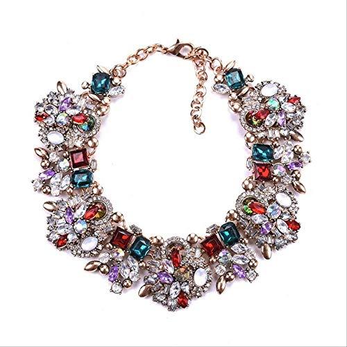 FSJF Collar Collar Grande Babero Gargantillas Grandes Collares Mujeres Collar de Diamantes de imitación de Cristal Mujer étnica India Bodaroja