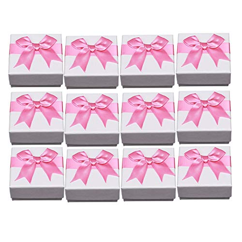 kowaku 12 Pieces Earring Bangle Square Cardboard Jewelry Gifts Boxes Anniversaries - Pink