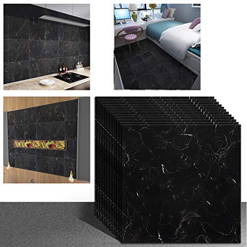 VEELIKE Piastrelle adesive Piastrelle per pavimenti Adesivi per pavimenti autoadesivi in vinile impermeabile in marmo per cucina Colore nero Confezione da 12 pezzi 30 cm x 30 cm VLU-VKUV-006-JZBK-12