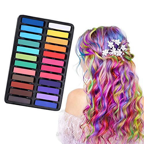 Hair Chalk, Temporary Hair Dye, Hair Chalk Dye, Pastel Chalk Kit, 24 Piece Temporary Hair Chalks Kit For Girls,Hair Chalk for Parties, Cosplay, Christmas, Birthday, Halloween