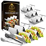 Taco Holder Stand - Set of 6 - Dishwasher & Oven Safe Taco Stand With Bonus Serving Tongs – Stainless Steel Taco Racks With Handles - Taco Trays by Western Home Goods