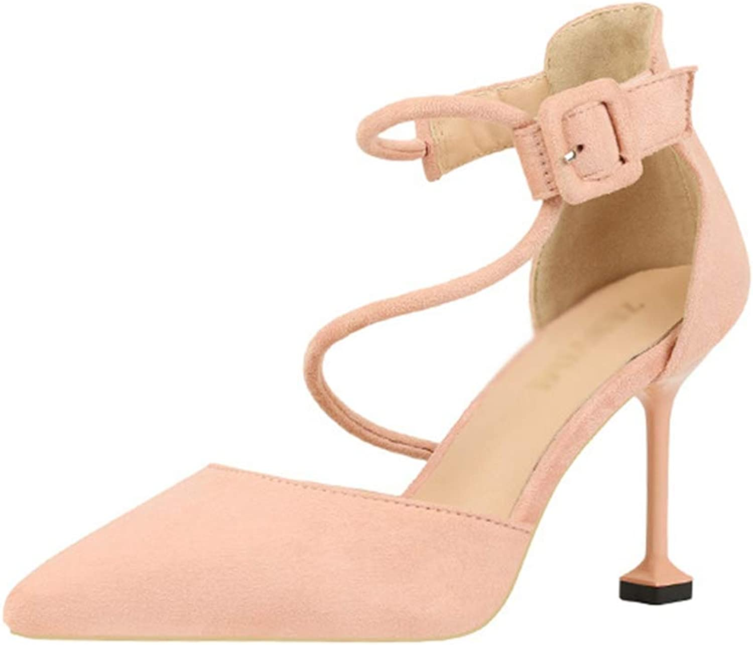 Drew Toby Women Pumps Pointed Toe Sexy Shallow Ankle Strap Solid color Elegant High Heels