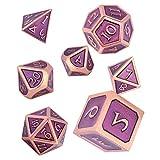 Schleuder Dados de rol de Dungeons and Dragons, Poliedricos DND 7 Piezas Dice Set Metal D&D Juego de rol para Mazmorras y MTG, RPG Dice Gaming (Copper & Purple)