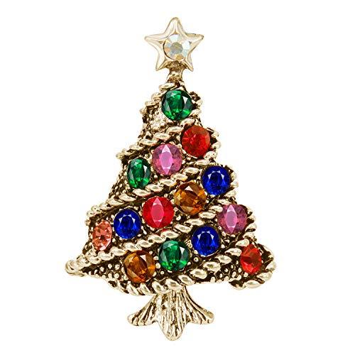 BiBeary Weihnachtsbaum Broschen für Damen Vintage Retro Stil Zirkonia Weihnachten Geschenke Party Fashion bunt