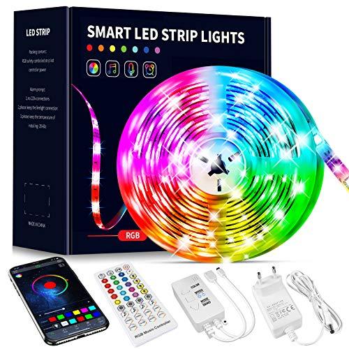 Beaeet Ruban Led 10M, Bande Led 5050 RGB , Led Ruban Lumineuse Flexible Multicolore avec Télécommande 40 Touches,Utilisé pour la décoration de maison de chambre à coucher (1x10M)