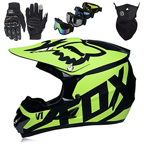 Cascos Moto Set con Gafas Guantes Máscara, Cascos Motocross Niños Mayores de 5 Años, Casco de Moto Todoterreno Adultos, Casco de Bicicleta de Montaña Unisex de Integral, con Diseño FOX, Amarillo Mate