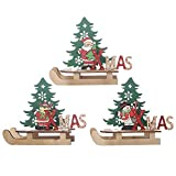 GSHIYA 3-Piezas Traje de Decoraciones de Navidad, Feliz Navidad Decoración de Madera DIY Trineo Adornos de árbol de Dibujos Animados Creativo decoración Combinación