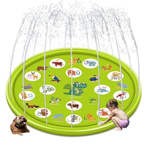 QINGBAO Splash Pad Sprinkler Pad Splash Play Mat 68' Outdoor Water Toys, Outdoor Sprinkler for Kids,Kids Pool,Dinosaur Spray mat (Dinosaur Spray mat)
