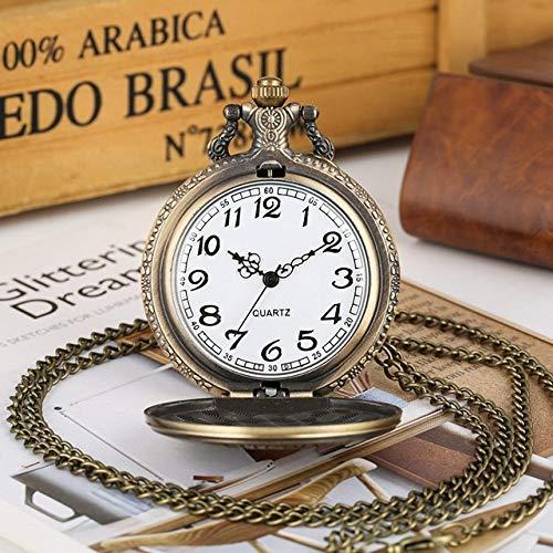 IOMLOP Reloj de bolsilloRetro Bronce Oso Polar Figura Collar Reloj de Bolsillo de Cuarzo Oso bebé patrón Cadena Colgante Regalos para Hombres Mujeres joyería, Cadena de 80 cm