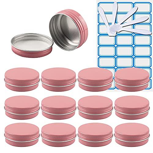 ZEOABSY 10 Pezzi 30 ml RosaBarattoli di alluminio Scatola Alluminio a Vite Vasetti Rotondo per DIY Candele Cosmetico Caramella Gadget Balsamo Labbra con 1 Etichette e 5 Cucchiaio