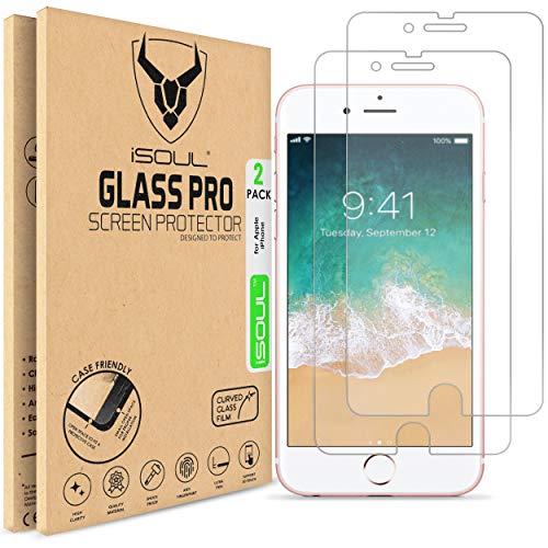 ISOUL Ultra klare Härte 9h Ultra HD Displayschutzfolie aus gehärtetem Glas mit 3D-Touch für iPhone 8, iPhone 7 und iPhone SE 2020 Inhalt: 2 Stück KLAR