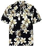 P.L.A. Pacific Legend - Camisa hawaiana de manga corta para hombre, con botones, bolsillo frontal, diseño hawaiano con flor dorada Flor dorada negra. M
