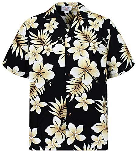 P.L.A. Pacific Legend - Camisa hawaiana de manga corta para hombre, con botones, bolsillo frontal, diseño hawaiano con flor dorada Flor dorada negra. S