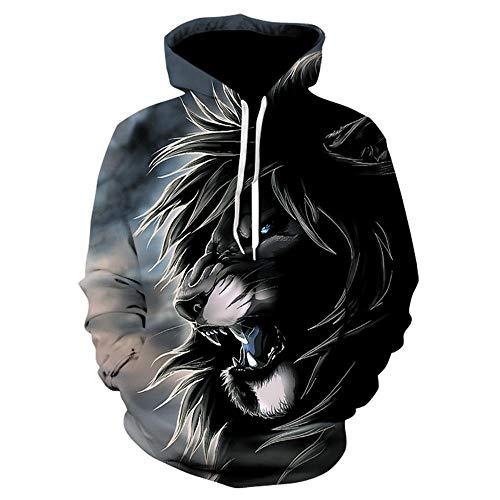 CHWEI Knitted Hat 3D Paare Hoodies Lion Zeichnung Sweatshirt Pullover Reißverschluss O Neck Lustige Männer Frauen Erwachsene Pullover Kleidung Mantel L